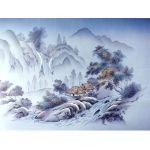 摺り友禅男物額裏(広幅の羽裏) 「白山」 ⑩滝・川に山水