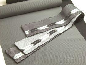 洗える角帯 矢絣柄 銀/黒