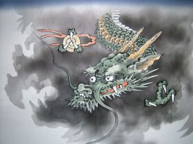 手描額裏(広幅の羽裏) 竜神