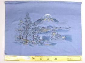 洗える男物額裏 No.11 富士山と帆掛け船 青グレー/カネボウソアフル