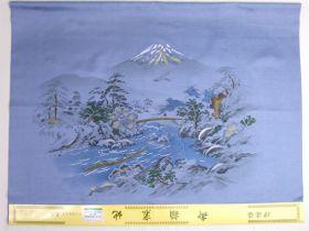 洗える男物 額裏 No.7 富士と筏流し 青グレー/カネボウソアフル
