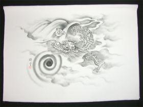男女両用正絹額裏 白地に墨絵 手描き 竜神とドラゴンボール1