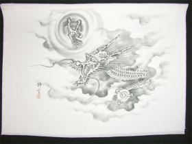 男女両用正絹額裏 白地に墨絵 手描き 竜神とドラゴンボール2