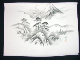男女両用正絹額裏 白地に墨絵 手描き 富士に松山