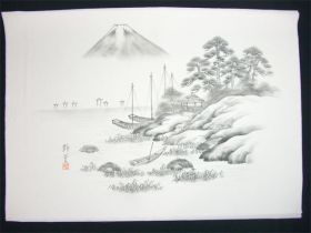 男女両用正絹額裏 白地に墨絵 手描き 富士と三艘舟