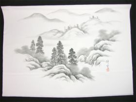 男女両用正絹額裏 白地に墨絵 手描き 山水 松柄