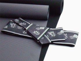 男物角帯ワンタッチ帯仕立 くまどり柄 銀/黒(ポリエステル)