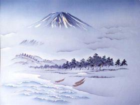 摺り友禅男物額裏(広幅の羽裏) 「白山」 ①富士に松原・三艘舟