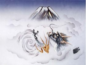 摺り友禅男物額裏(広幅の羽裏) 「白山」 ⑪昇り竜