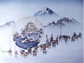摺り友禅男物額裏(広幅の羽裏) 「白山」 ②大名行列