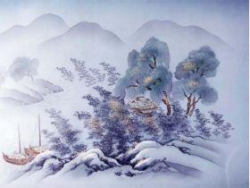 摺り友禅男物額裏(広幅の羽裏) 「白山」 ③遠山山水