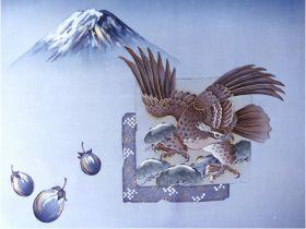 摺り友禅男物額裏(広幅の羽裏) 「白山」 ④1富士2鷹3なすび