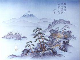 摺り友禅男物額裏(広幅の羽裏) 「白山」 ⑤富士に湖・山水