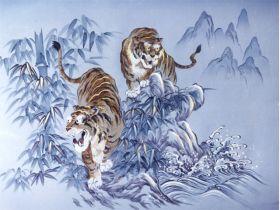 摺り友禅男物額裏(広幅の羽裏) 「白山」 ⑥虎