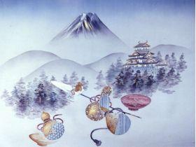 摺り友禅男物額裏(広幅の羽裏) 「白山」 ⑦富士山に城