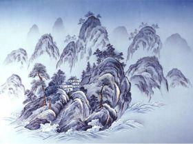 摺り友禅男物額裏(広幅の羽裏) 「白山」 ⑧中国山水