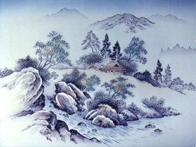 摺り友禅男物額裏(広幅の羽裏) 「白山」 ⑨小川山水