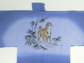 Silk underwear of Men's kimono Dog by draw blue