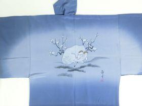 Silk underwear of Men's kimono Sheep l by draw blue