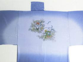 "Silk underwear of Men's kimono ""Tenryu""bland Gods of thunder and wind ⑩blue"
