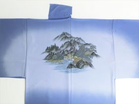 "Silk underwear of Men's kimono ""Tenryu""bland Landscape ⑪ blue"
