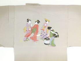 摺り友禅男襦袢 浮世絵 No.3 茶