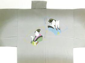 摺り友禅男襦袢 浮世絵 No.6 茶