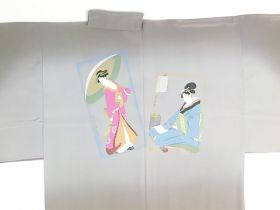 摺り友禅男襦袢 浮世絵 No.2 茶