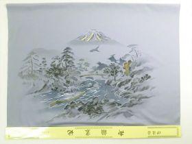 洗える男物 額裏 No.7 山水 富士山といかだ流し グレー