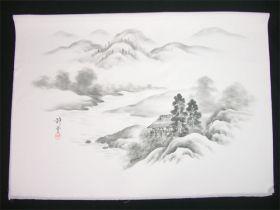 男女両用正絹額裏 白地に墨絵 手描き 山水 松と家