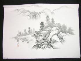 男女両用正絹額裏 白地に墨絵 手描き 山水 松と家と滝