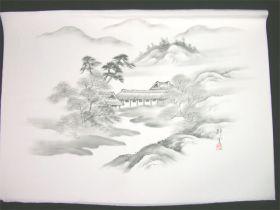男女両用正絹額裏 白地に墨絵 手描き 山水 松と屋敷
