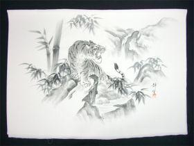 男女両用正絹額裏 白地に墨絵 手描き 山水 滝と虎