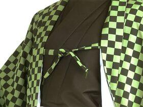 洗える市松 羽織 袷 オーダー仕立 緑系 紐部分拡大