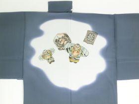 天竜 男襦袢 昇り凧 引き染 グレー / 灰色 / ねずみ 裾部分