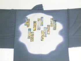 天竜 男襦袢 短冊 引き染 グレー / 灰色 / ねずみ 裾部分