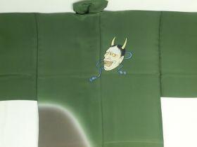手描き 男襦袢 能面 引き染 緑(背中) / 茶色(裾)