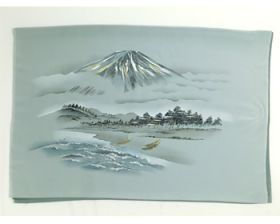 男物 額裏 緑 山水 富士山と船 「白山」ブランド