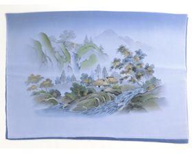 男物 額裏 青グレー 和山水 滝と家 「白山」ブランド
