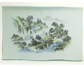 男物 額裏 緑 和山水 滝と家 「白山」ブランド