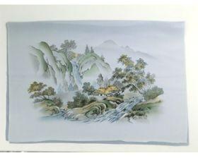 男物 額裏 グレー 和山水 滝と家 「白山」ブランド