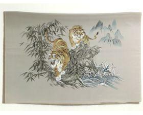 男物 額裏 茶色 竹に虎 「白山」ブランド