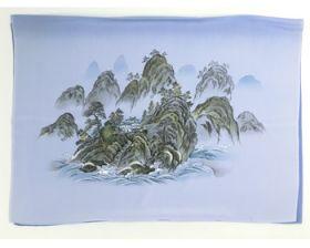 男物 額裏 青グレー 桂林風山水 「白山」ブランド