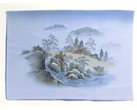 男物 額裏 青グレー 和山水 渓流と家 「白山」ブランド