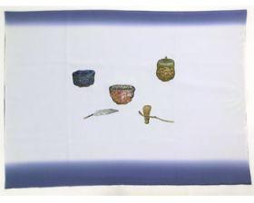 男物 額裏 青グレー 茶器 「天竜」ブランド