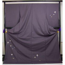 洗える着物 付下げ 刺繍 葡萄色地に宝尽くし 光触媒消臭