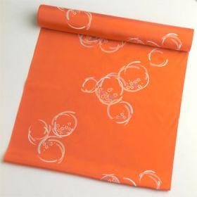 正絹 肩裏 橙色に花丸柄1.5丈以上(約6m)