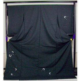 洗える着物 付下げ 刺繍 黒地に花丸 光触媒消臭