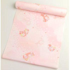 正絹 肩裏 総柄 ピンクに熨斗目と桜吹雪1.5丈以上(約6m)