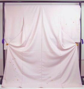 洗える着物 付下げ 刺繍 さくら色地に色紙 光触媒消臭